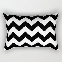 BLACK AND WHITE CHEVRON PATTERN - THICK LINED ZIG ZAG Rectangular Pillow