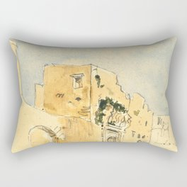 "Eugène Delacroix ""A Moroccan building"" Rectangular Pillow"