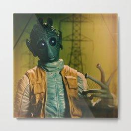 Bug Eyed Dude Throwing Gang Signs Metal Print