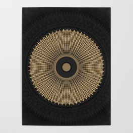 Gold Coin Mandala on Marble Poster