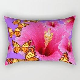 DECORATIVE MONARCH BUTTERFLIES  PINK HIBISCUS   PURPLE ART Rectangular Pillow