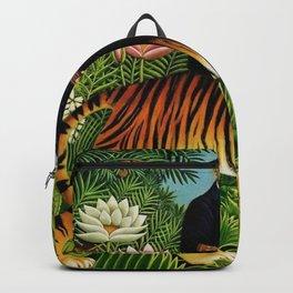 Henri Rousseau Dreaming of Tigers tropical big cat jungle scene by Henri Rousseau Backpack