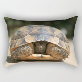 Young Spur Thighed Tortoise Looking Out of Its Shell Rectangular Pillow