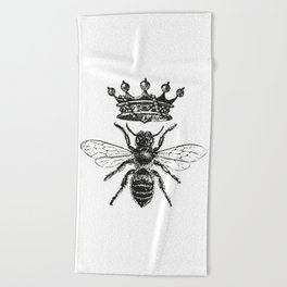 Queen Bee   Black and White Beach Towel