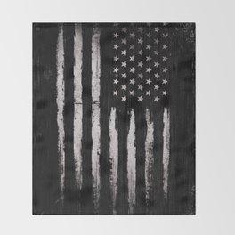 White Grunge American flag Throw Blanket