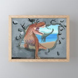 Prehistoric Dinosaur Tyrannosaurus Enters the 21st Century Framed Mini Art Print