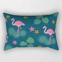Bohemian nonchalance tropical flamingo pattern on dark background Rectangular Pillow