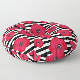 Red Poppies & Stripes Floor Pillow
