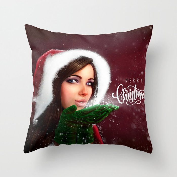 Lady Christmas Throw Pillow