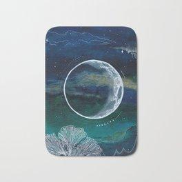 Crescent Moon Mixed Media Painting Bath Mat