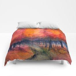 Nighttime Autumn Landscape Nature Art Comforters