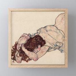 """Egon Schiele """"Kneeling Girl, Resting on Both Elbows"""" Framed Mini Art Print"""