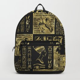 Egyptian  hieroglyphs and symbols gold on black leather Backpack