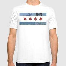 Ephemeral Chicago Flag White MEDIUM Mens Fitted Tee