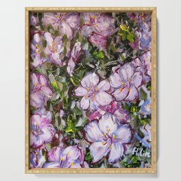 LET LIFE BE BEAUTIFUL LIKE SPRING AZALEA - abstract floral painting by HSIN LIN / HSIN LIN ART Serving Tray