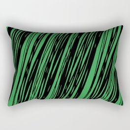 Black lines on a green background pattern Rectangular Pillow