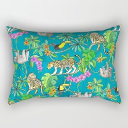 Rainforest Friends - watercolor animals on textured teal Rectangular Pillow