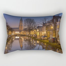 Church reflected in a canal in Delft, The Netherlands Rectangular Pillow