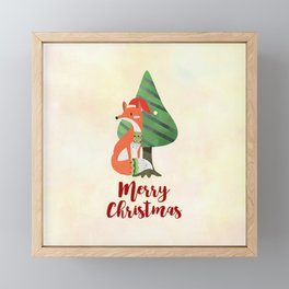 Fox in Santa Hat Merry Christmas Framed Mini Art Print