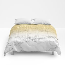 Modern faux gold glitter white marble color block Comforters