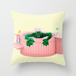 Black Lagoon Monster In Hot Tub Throw Pillow