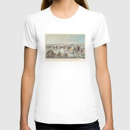 Vintage Central Park Ice Skating Painting (1861) T-shirt