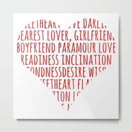 Heart shaped love words Metal Print