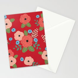 Flower Pattern, Pink Blue Flowers on Red, Vintage Floral Design Stationery Cards