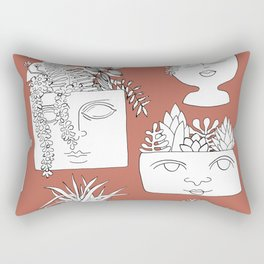 Illustrated Plant Faces in Terracotta Rectangular Pillow