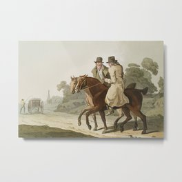 Illustration of farmers from The Costume of Yorkshire (1814) by George Walker (1781-1856). Metal Print