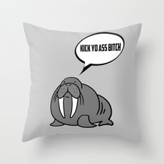 Angry Walrus Throw Pillow