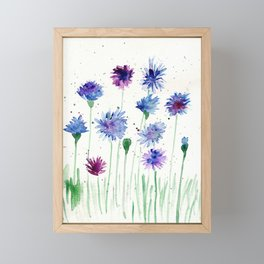 Bachelor Buttons Wildflowers Watercolor Framed Mini Art Print