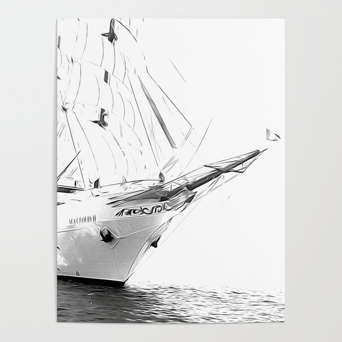 Black and White Sailboat Poster by alemi | Society6