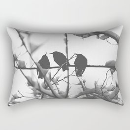 Three Black Birds on Snow Covered Branch Black and White Photography Rectangular Pillow