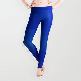 Subtle Cobalt Blue Waves Pattern Ombre Gradient Leggings