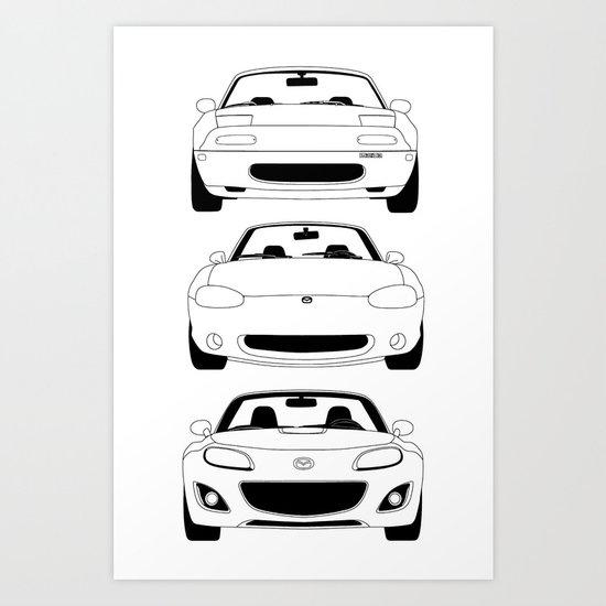 MX-5/Miata Generations Art Print