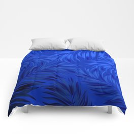 Palm Tree Fronds Brilliant Blue on Blue Hawaii Tropical Décor Comforters