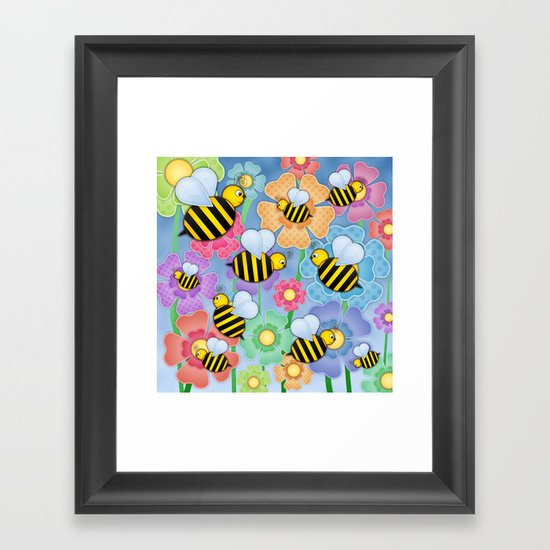 Busy Buzzers. Framed Art Print