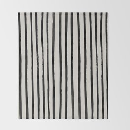 Vertical Black and White Watercolor Stripes Throw Blanket