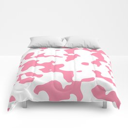 Large Spots - White and Flamingo Pink Comforters