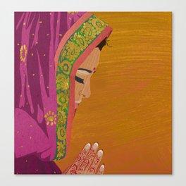 Henna Prayer Hands Canvas Print
