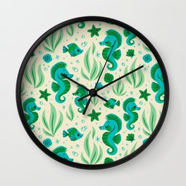Seahorses (Blue & Green) Wall Clock