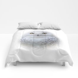 Dreamy Encounter with a Serene Snowy Owl Comforters