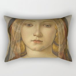 "Sandro Botticelli ""The Virgin and Child with Saint John and an Angel"" The Virgin Rectangular Pillow"