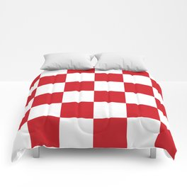 Large Checkered - White and Fire Engine Red Comforters