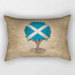 Vintage Tree of Life with Flag of Scotland Rectangular Pillow