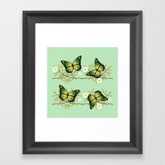 Four green butterflies Framed Art Print