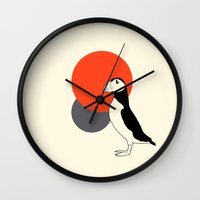 puffin Wall Clocks featuring Puffin by Pawprint