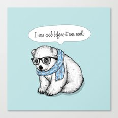Hipster polarbear Canvas Print
