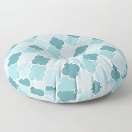 Blue Moroccan Trellis, Latticework, Quatrefoil Floor Pillow